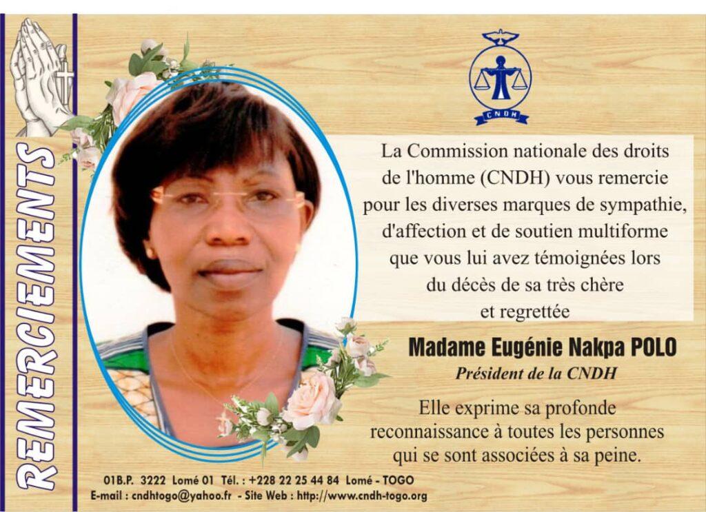 Avis de Remerciements de la CNDH
